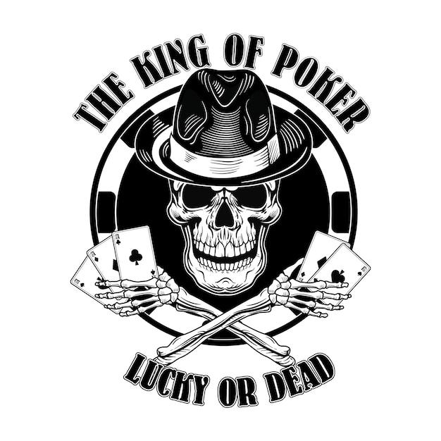 Logo del teschio di gangster casinò. logotipo vintage con carte da gioco, cappello a cilindro Vettore gratuito