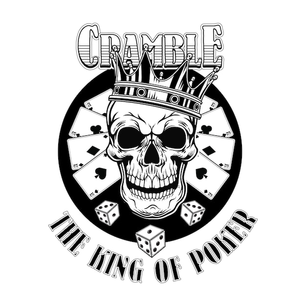 ギャングカジノの頭蓋骨。トランプ、王冠、シルクハット、サイコロとヴィンテージのロゴタイプ 無料ベクター