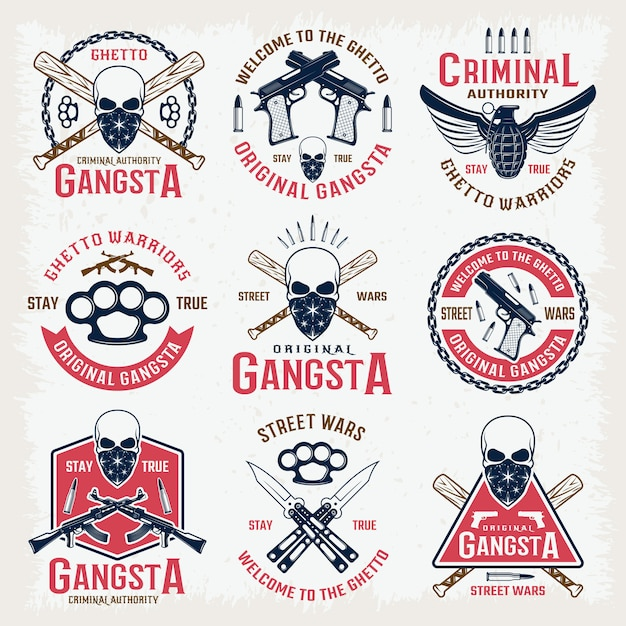 Gangster colored emblems Free Vector