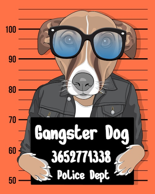 Gangster dog, hand drawn cute dog with sunglasses illustration Premium Vector
