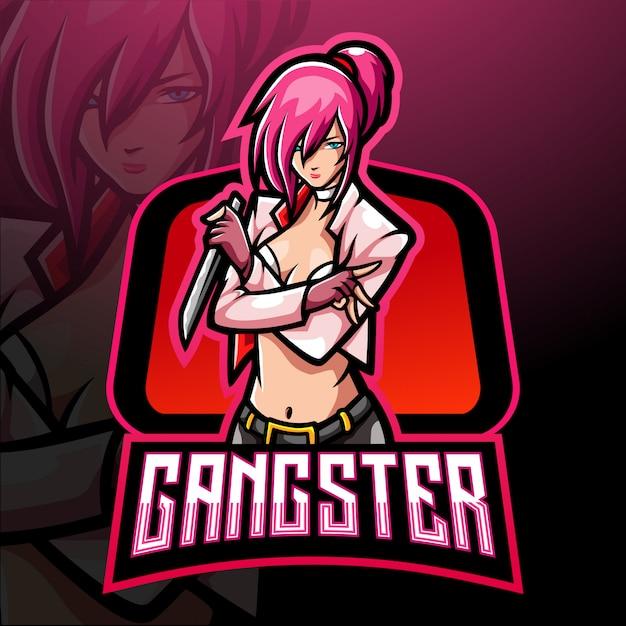 ギャングガールのeスポーツのロゴのマスコットデザイン Premiumベクター