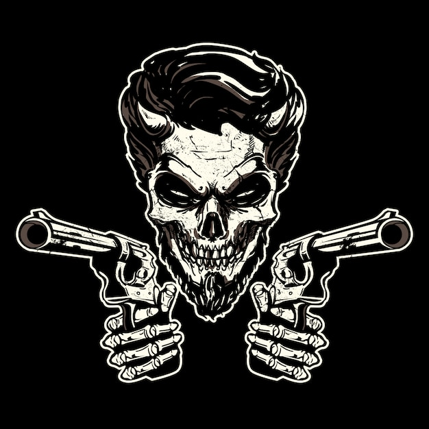 Gangster Skeleton Pointing Guns Premium Vector