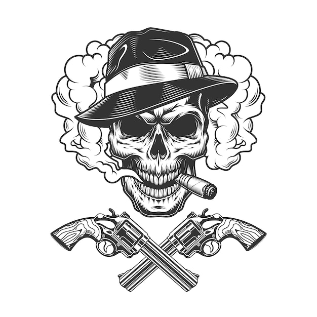 Gangster skull wearing fedora hat Free Vector