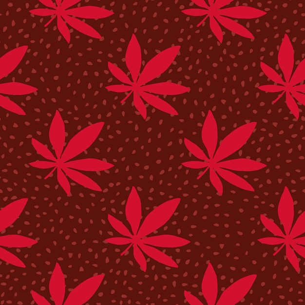 Ganja hand drawn seamless pattern. maroon background with dots and red cannabis leaves. Premium Vector