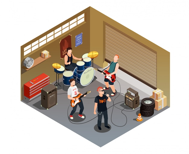 Garage band isometric composition Free Vector
