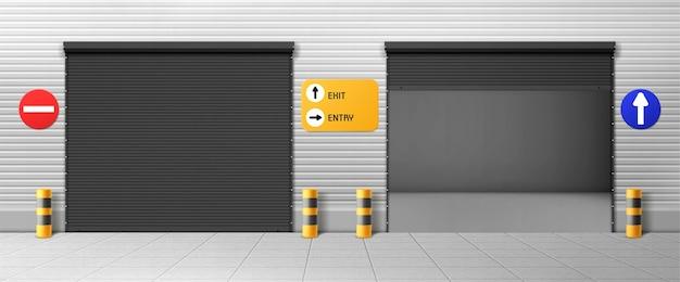Porte garage, ingressi hangar commerciali con tapparelle e segnaletica. magazzino chiuso, scatole aperte, deposito 3d realistico per parcheggio o affitto auto, stanze per servizio di riparazione con porte in metallo Vettore gratuito