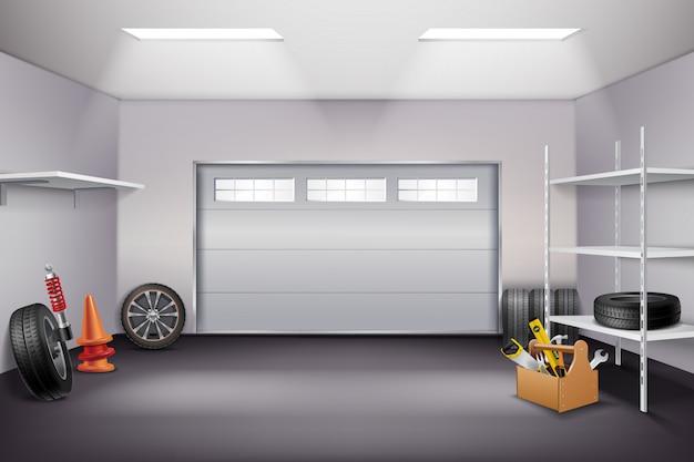 Garage interior realistic composition Free Vector
