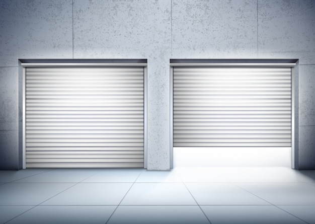 Garage with two entrances composition Free Vector