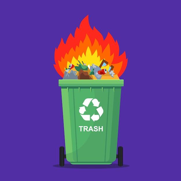 ゴミ箱で燃えているゴミ Premiumベクター