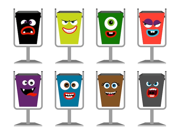 Garbage cans with faces Premium Vector