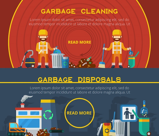 Garbage cleaning banners Free Vector