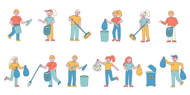 Набор для сбора мусора плоских charers. люди разбирают стеклянную и пластиковую подстилку в контейнерах. Premium векторы