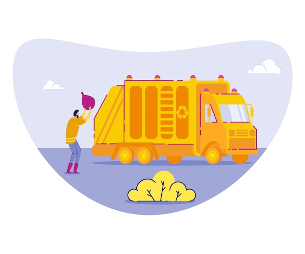 Garbage collection in city Premium Vector
