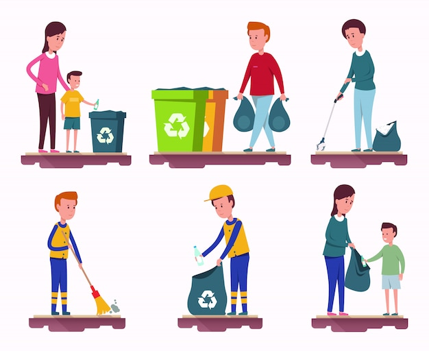 Garbage collection set Premium Vector
