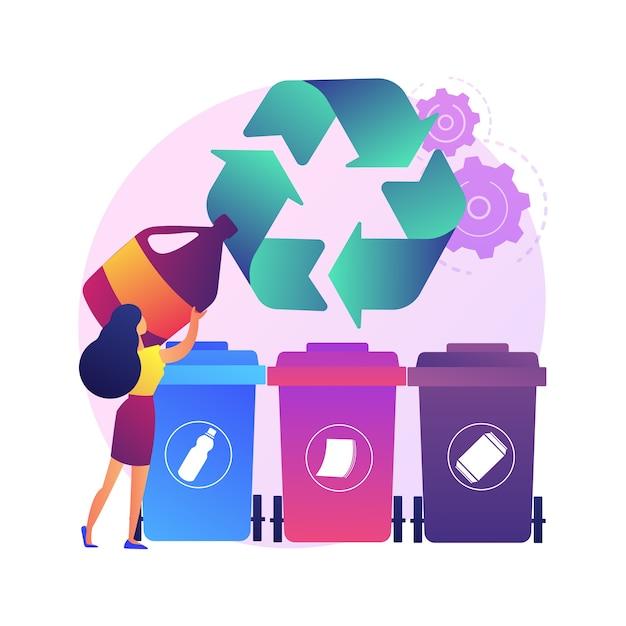 Raccolta dei rifiuti e ordinamento concetto astratto illustrazione. raccolta rifiuti domestici, sistemi di smaltimento locali, segregazione dei rifiuti, veicoli di servizio urbano a bordo strada Vettore gratuito