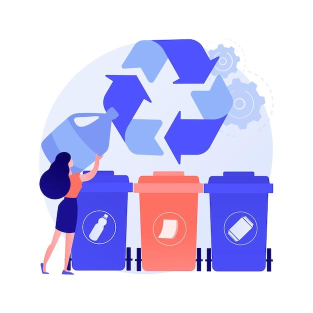 Raccolta dei rifiuti e smistamento concetto astratto illustrazione vettoriale. raccolta dei rifiuti domestici, sistemi di smaltimento locali, segregazione dei rifiuti, metafora astratta dei veicoli di servizio urbano a bordo strada. Vettore gratuito