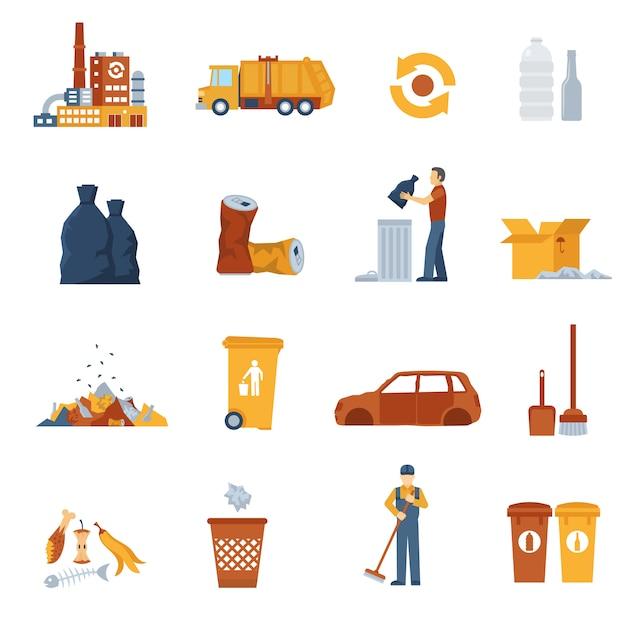 Цветные иконки для мусора Бесплатные векторы