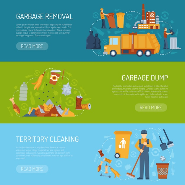 Garbage concept banner Free Vector