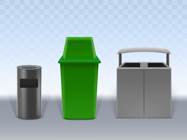 Garbage containers set isolated on transparent background. Free Vector
