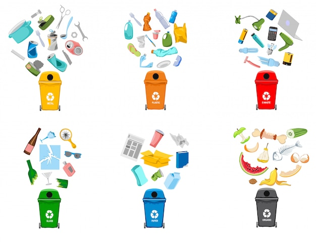 Garbage containers and types of trash Premium Vector