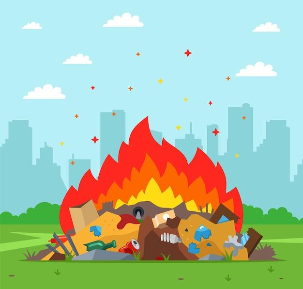 街の背景にゴミ捨て場が燃えています。不適切な廃棄物処理 Premiumベクター