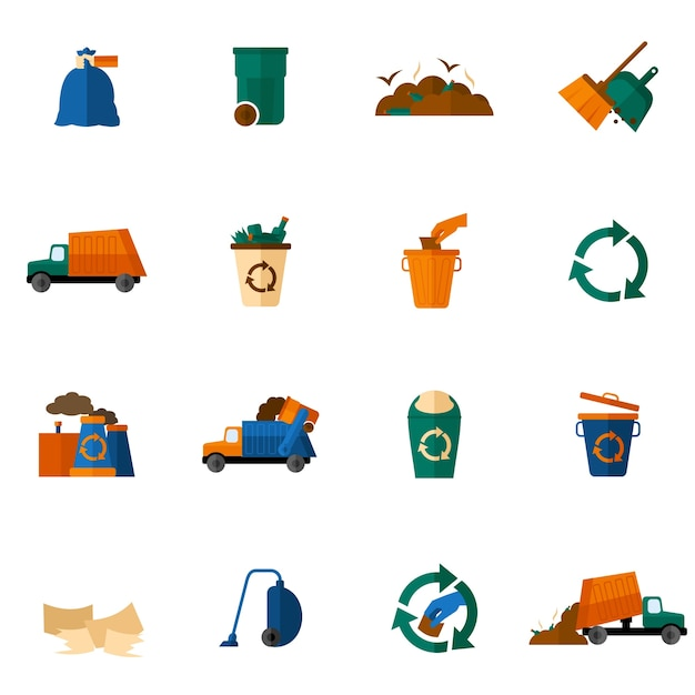Garbage icons flat Free Vector