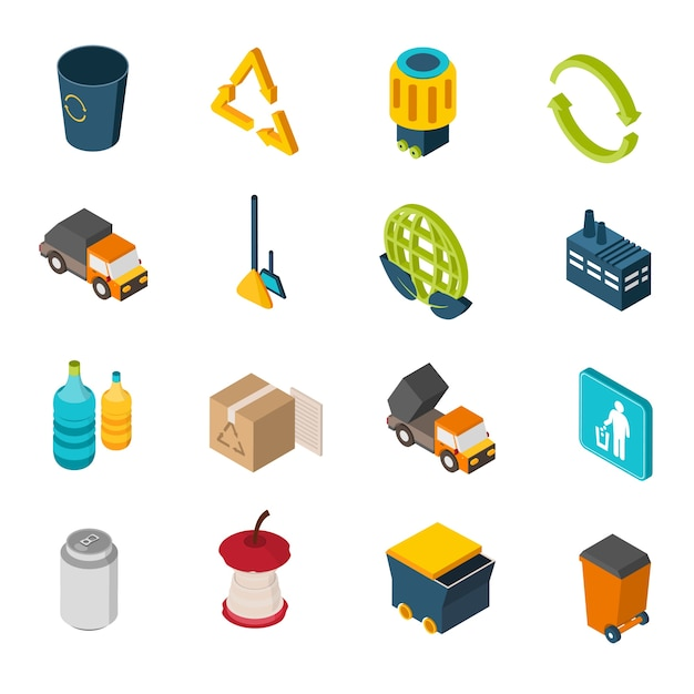 Garbage isometric icons Free Vector