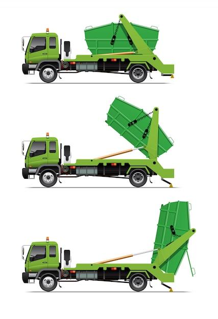 Garbage lugger truck dumping Premium Vector