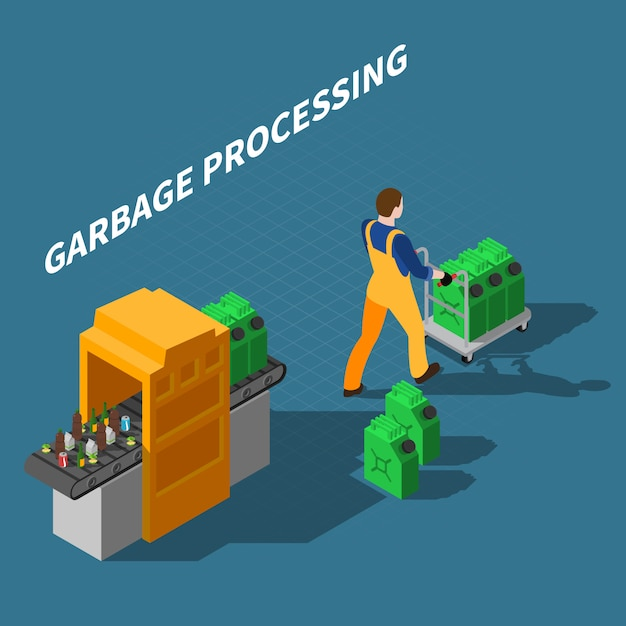 Garbage processing isometric illustration Free Vector