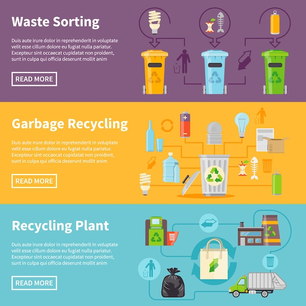 Garbage recycling banners set Free Vector