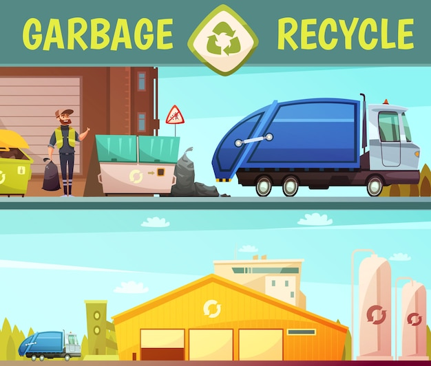Garbage recycling green  eco friendly service symbol and processing facilities 2 cartoon style banne Free Vector