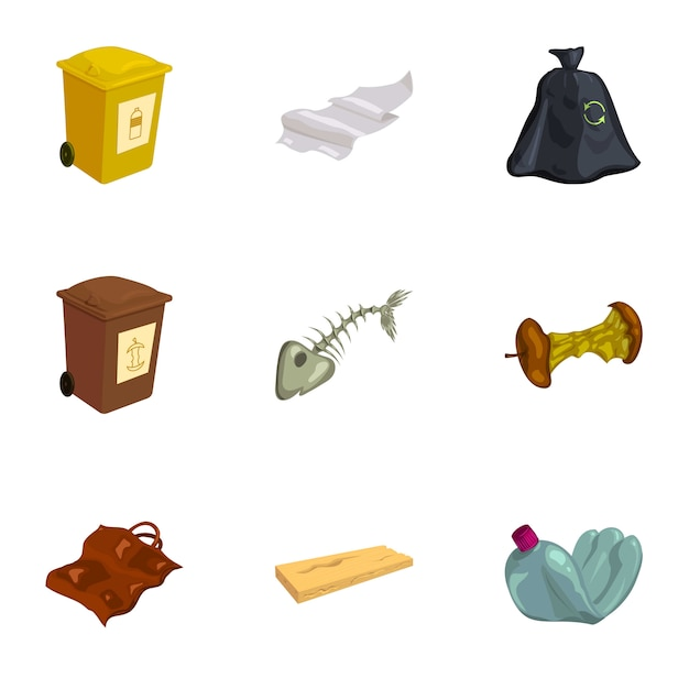 Garbage and recycling icons set, cartoon style Premium Vector