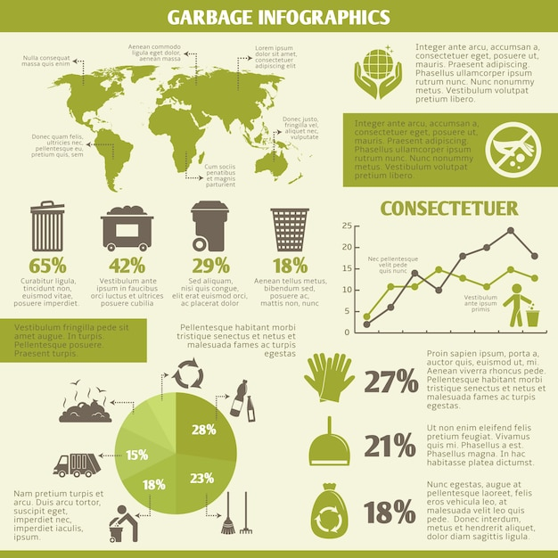 Garbage recycling infographic elements set with icons and charts vector illustration Free Vector