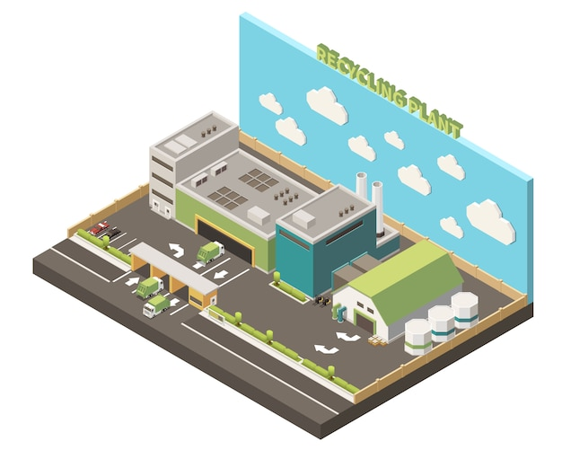 Garbage recycling isolated composition recycling plant headline and warehouse on piece of earth  illustration Free Vector