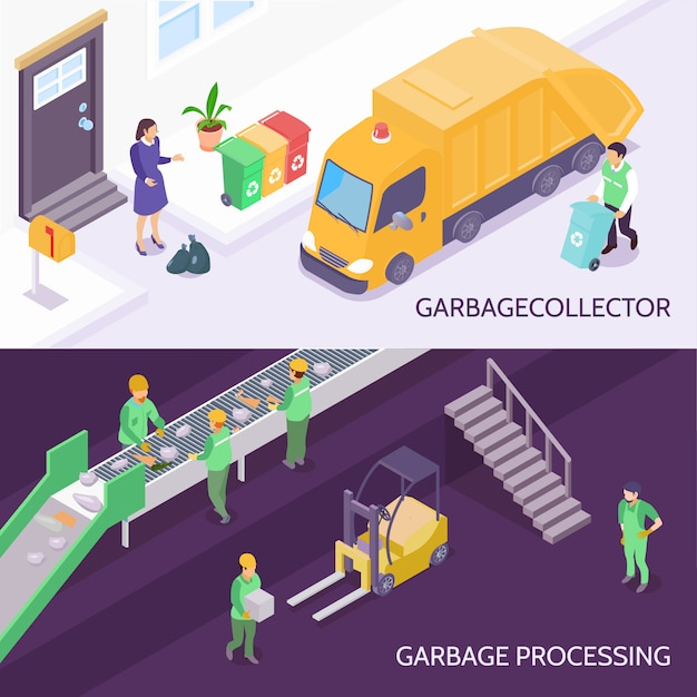 Garbage recycling isometric banners Free Vector
