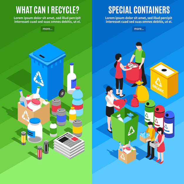 Garbage recycling vertical banners Free Vector