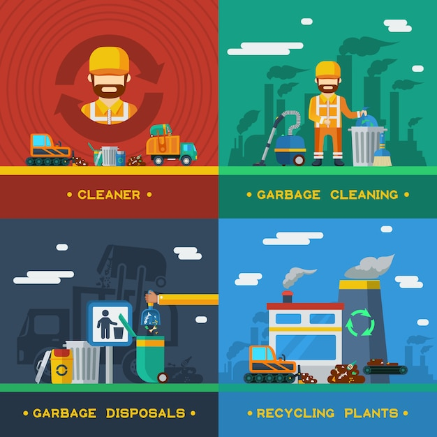 Garbage removal 2x2 concept Free Vector