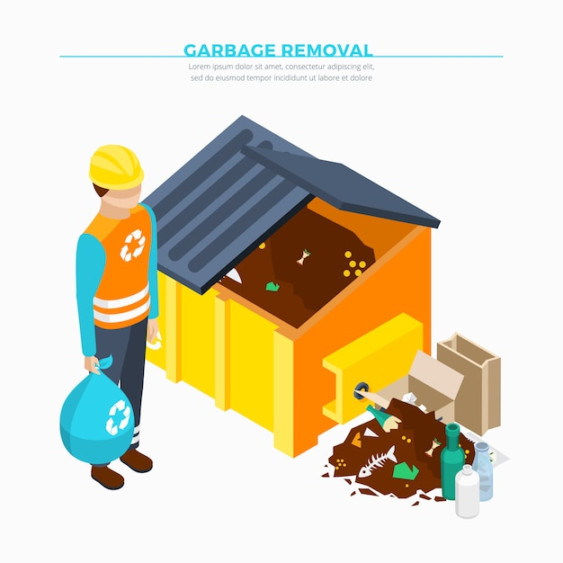 Garbage removal isometric design Free Vector