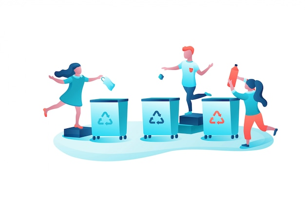 Garbage sorting concept, kids throwing trash into container Premium Vector