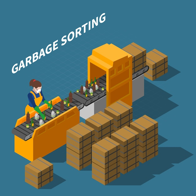 Garbage sorting isometric illustration Free Vector