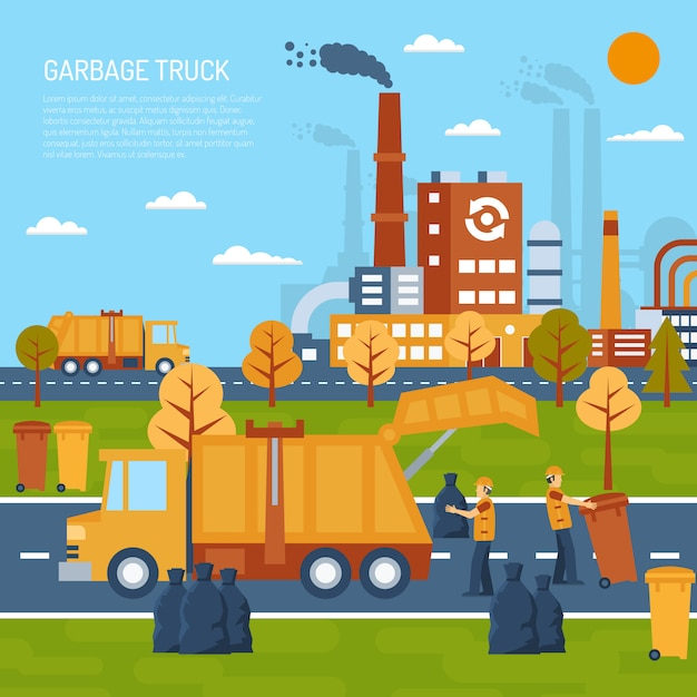 Garbage truck concept Free Vector
