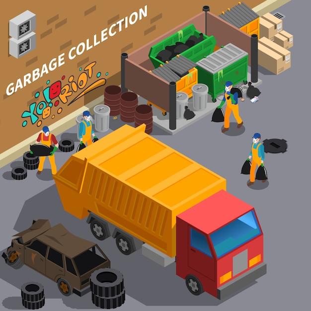 Garbage truck isometric illustration Free Vector