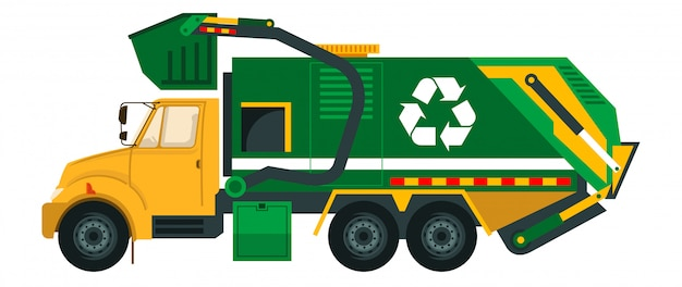 Garbage truck when pick the trash at the house Premium Vector