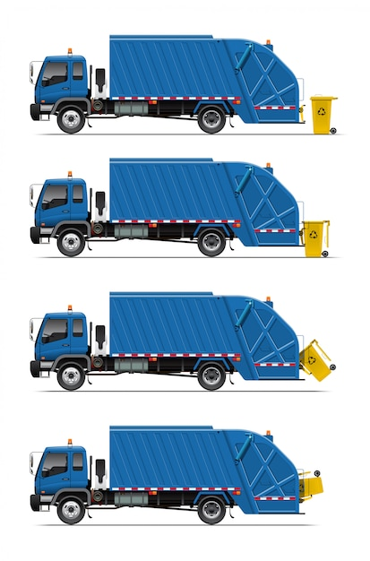 Garbage truck with trash can Premium Vector