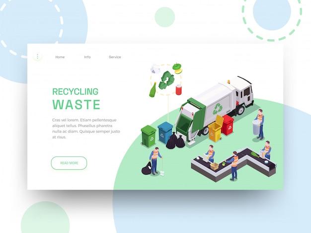 ごみ廃棄物リサイクル等尺性webサイトリンク先編集可能なテキストとクリーニング画像ベクトルイラストデザイン 無料ベクター
