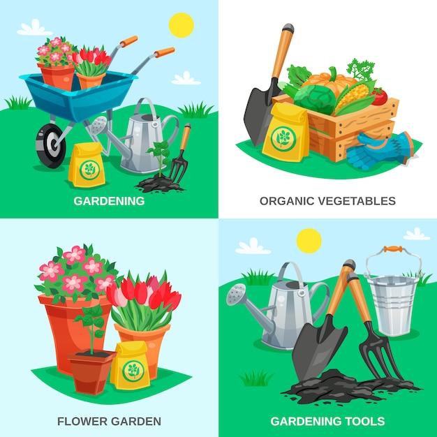 Garden 2x2 design concept Free Vector