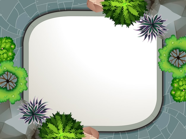A garden aerial view border Free Vector