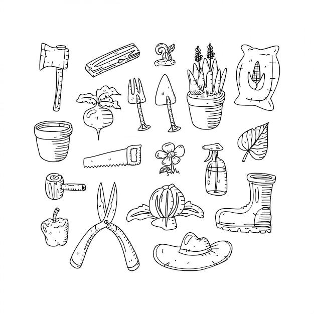 Garden doodle hand drawn style Premium Vector