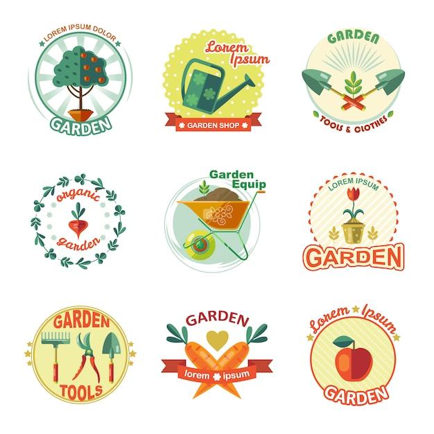 ガーデンエンブレムセット Premiumベクター
