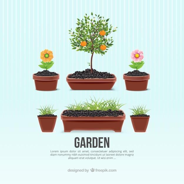 Garden flowerpots Free Vector